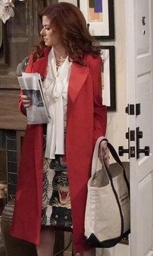 Debra Messing with Sandro Long Wool Coat in Will & Grace