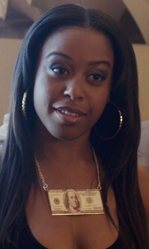 Dominique Perry with Spencer's Gold 100 Dollar Bill Necklace in Get Hard