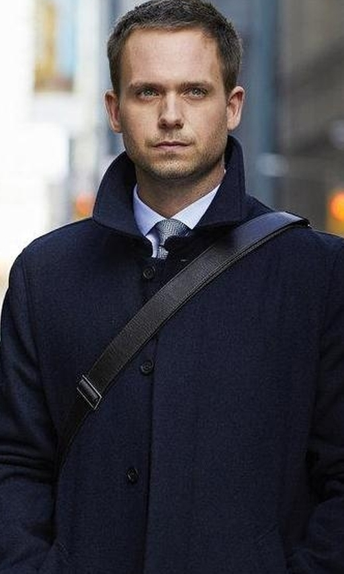 Patrick J. Adams with Sanyo Water-Repellant Shell Coat in Suits