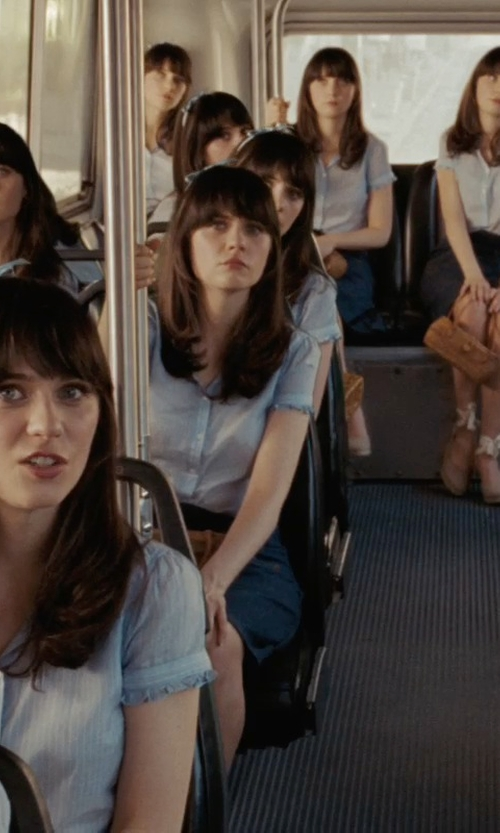 Zooey Deschanel with Somo Lite Relly Puff Sleeve Blouse in (500) Days of Summer