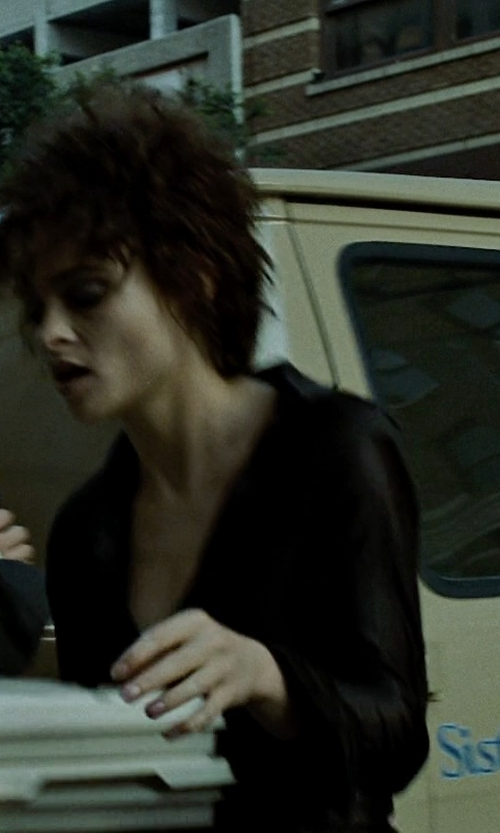 Helena Bonham Carter with Vince Cascading Ruffle Short-Sleeve Blouse in Fight Club