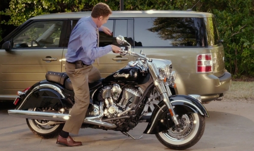 Will Ferrell with Indian Motorcycle Chief Classic Motorcycle in Daddy's Home