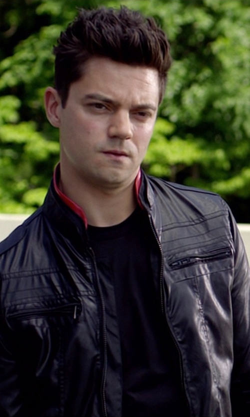Dominic Cooper with Dockers Leather Motorcycle Racer Jacket in Need for Speed
