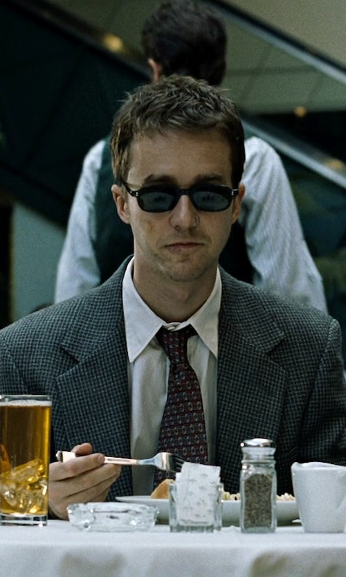 Edward Norton with Ted Baker London Jones Trim Fit Wool Suit in Fight Club