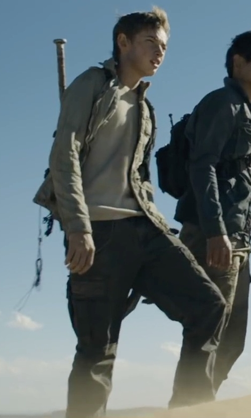 Jacob Lofland with Armani Jeans Stretch Cotton Trousers in Maze Runner: The Scorch Trials