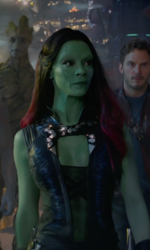 Zoe Saldana with Alexandra Byrne (Costume Designer) Custom Made Gamora Suit in Guardians of the Galaxy