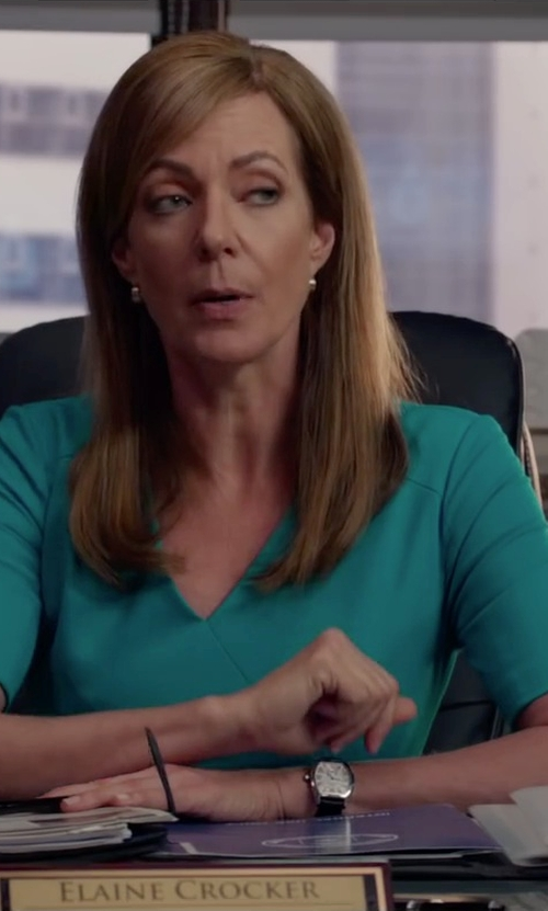 Allison Janney with Armiani Jeans Cotton Blend Sheath Dress in Spy