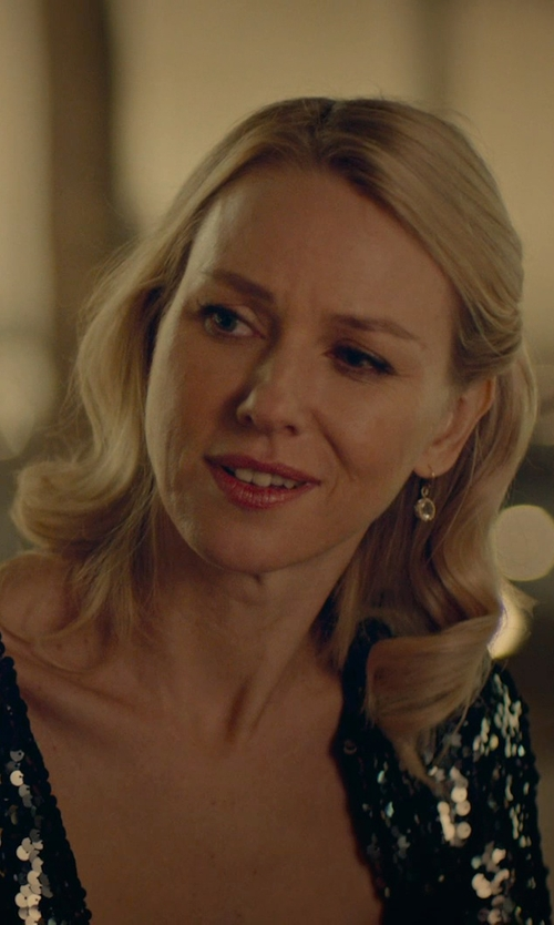 Naomi Watts with Lord & Taylor Woven Ball Drop Earrings in While We're Young