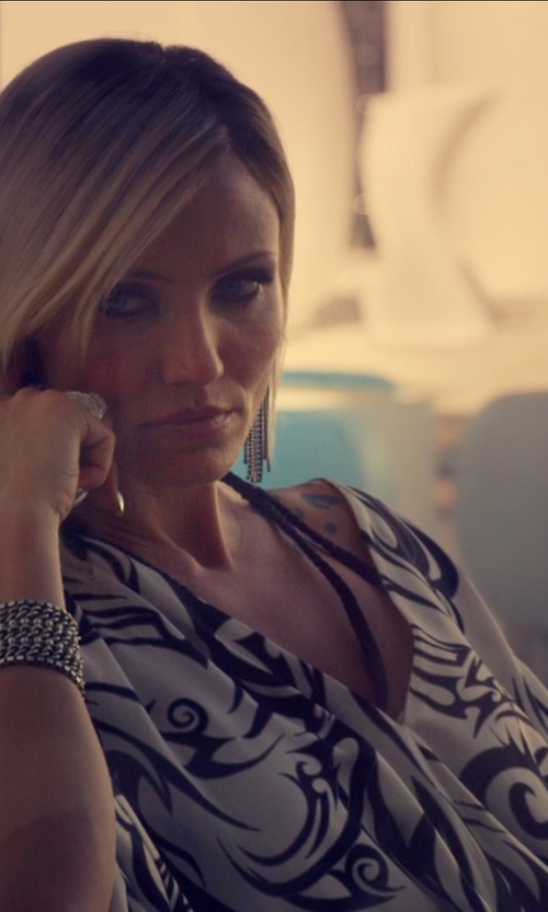 Cameron Diaz with Thomas Wylde Maori Print Caftan Dress in The Counselor