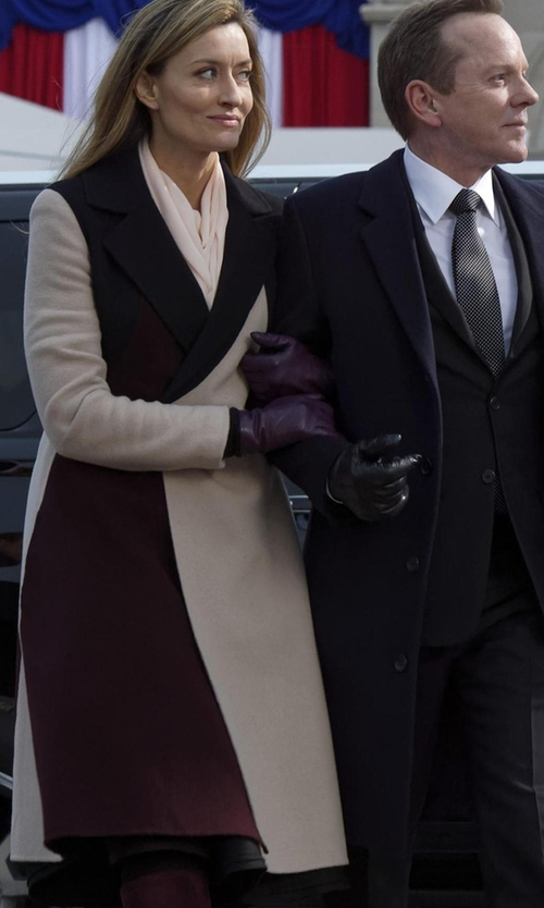Natascha McElhone with Boss Runway Cibina Wool & Cashmere Colorblock Coat in Designated Survivor