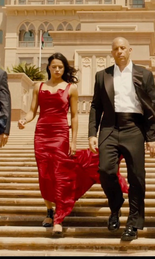 Michelle Rodriguez with Vivienne Westwood Stretch Satin Long Amber Dress in Furious 7