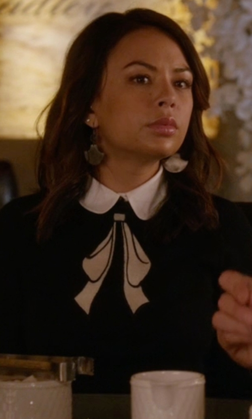 Janel Parrish with Alice + Olivia Bow Embroidered Sweater in Pretty Little Liars