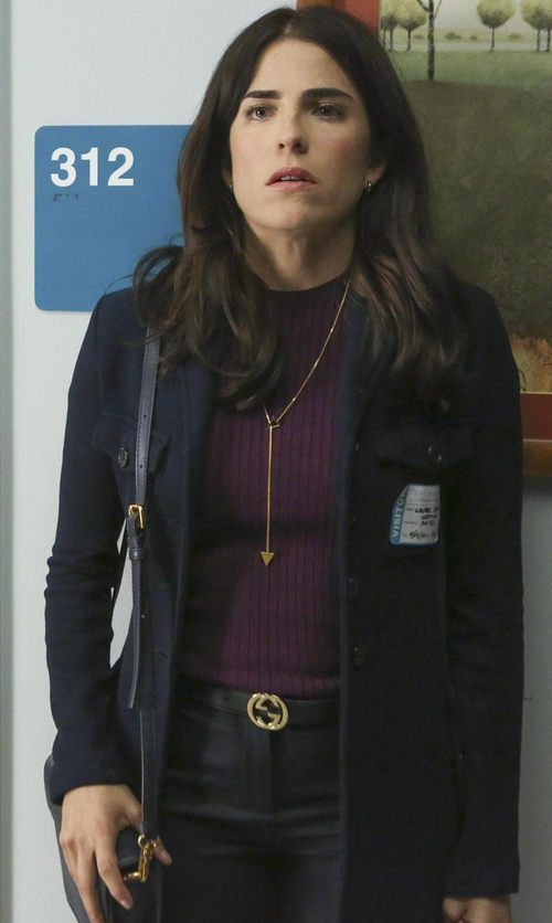 Karla Souza with Tory Burch Robinson Messenger Bag in How To Get Away With Murder