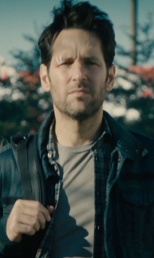Paul Rudd with American Apparel Plaid Twill Long Sleeve Button-Up Shirt in Ant-Man
