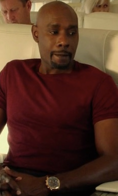 Morris Chestnut with John Elliott Anti-Expo Jersey T-Shirt in Rosewood
