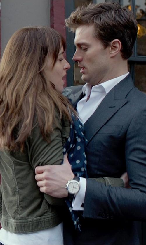 Dakota Johnson with Set Military Blazer in Fifty Shades of Grey