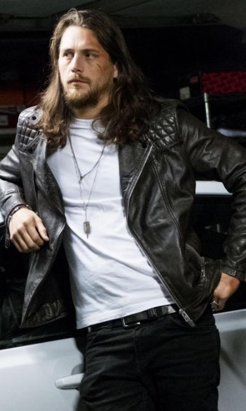 Ben Robson with All Saints Conroy Leather Biker Jacket in Animal Kingdom