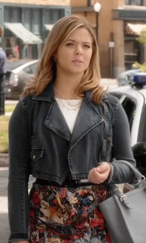 Sasha Pieterse with Alice + Olivia Molly Solid/Printed Slit Dress in Pretty Little Liars