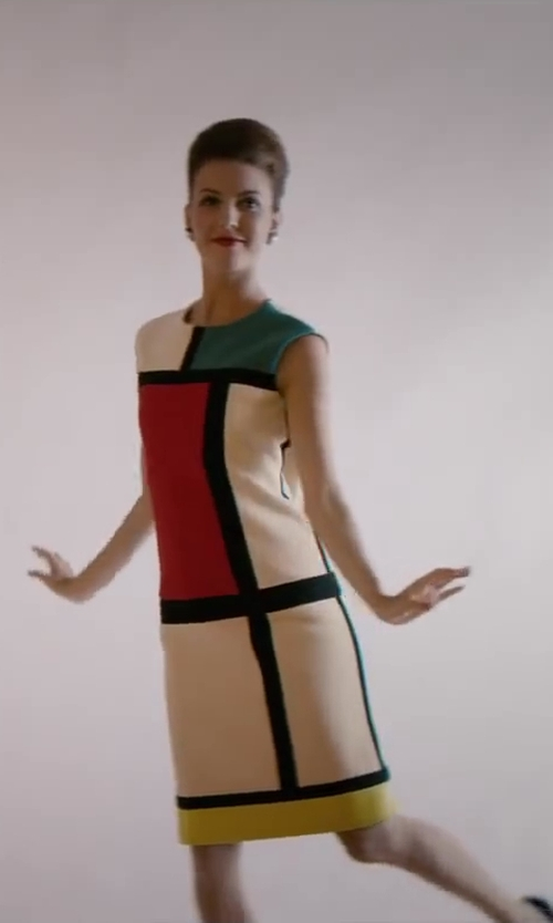 Unknown Actor with Yves Saint Laurent Mondrian Dress (Blue / Red / Yellow) in Yves Saint Laurent