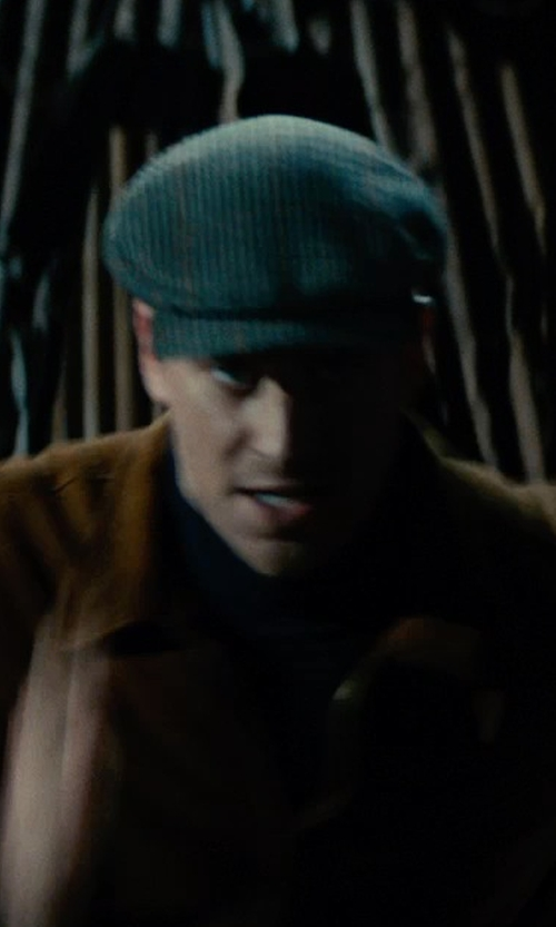 Armie Hammer with Joanna Johnston (Costume Designer) Custom Made W. Bill Wool Houndstooth Ivy Cap in The Man from U.N.C.L.E.