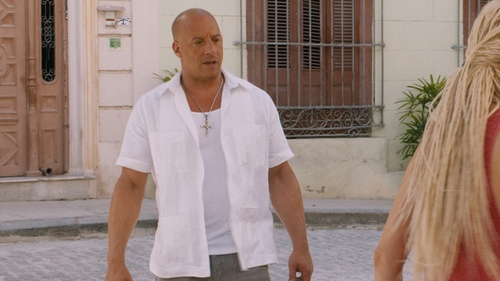 Vin Diesel with The Havanera Co. Guayabera Shirt in The Fate of the Furious