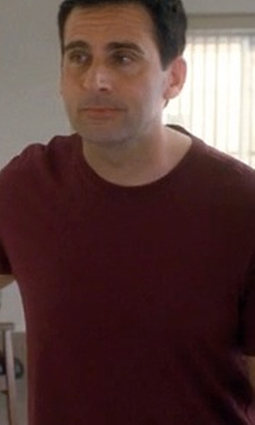 Steve Carell with Zazzle Plain Maroon Basic Dark T-Shirt in Crazy, Stupid, Love.