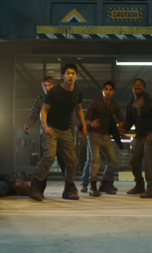 Ki Hong Lee with Pleaser Men's Rocky 14 Lace-Up Boot in Maze Runner: The Scorch Trials