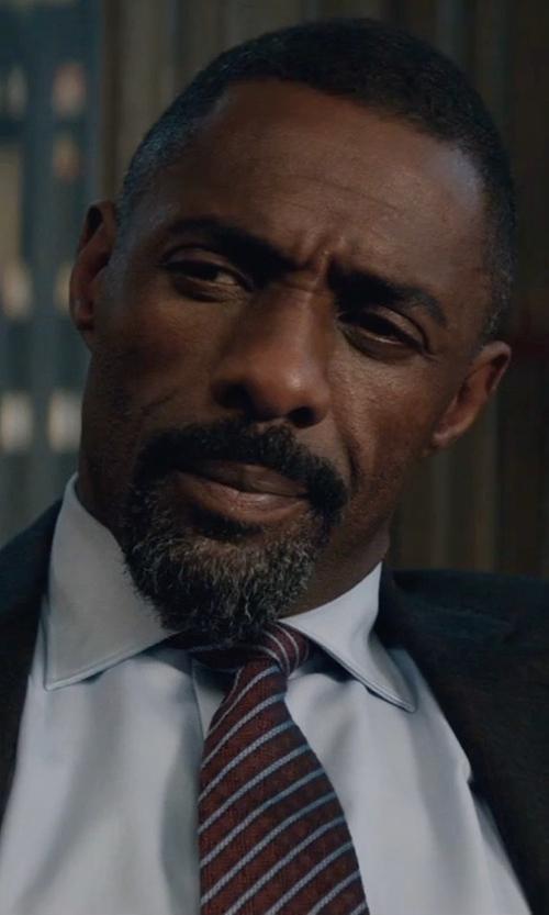 Idris Elba with Brioni Cable-Stripe Silk Tie in Molly's Game