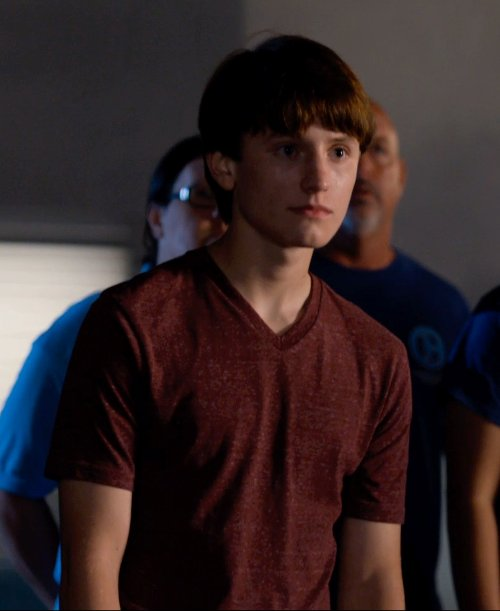 Nathan Gamble with Vince Boys' Heathered T-Shirt in Dolphin Tale 2