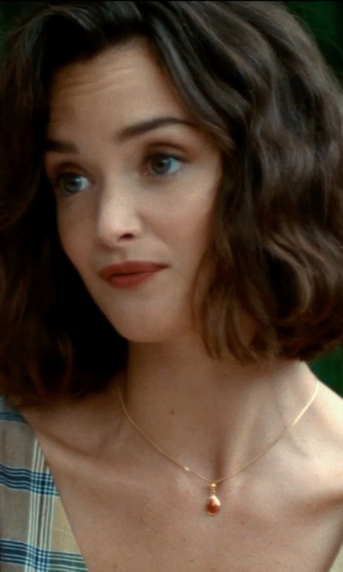 Charlotte Le Bon with Rakuten Pear Ruby & Diamond Solitaire Pendant Necklace in The Hundred-Foot Journey