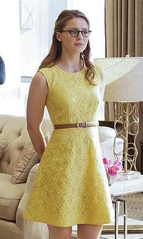 Melissa Benoist with J Crew Textured Eyelet Jacquard Dress in Supergirl
