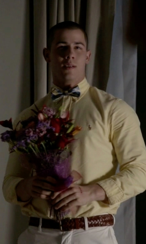 Nick Jonas with Ralph Lauren Sportsman Braided Belt in Scream Queens