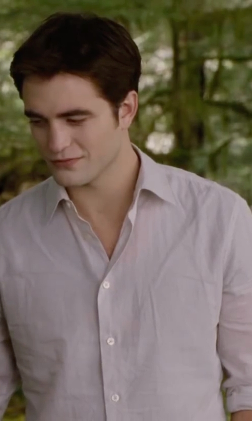 Robert Pattinson with Black Brown 1826 Regular Fit Dress Shirt in The Twilight Saga: Breaking Dawn - Part 2