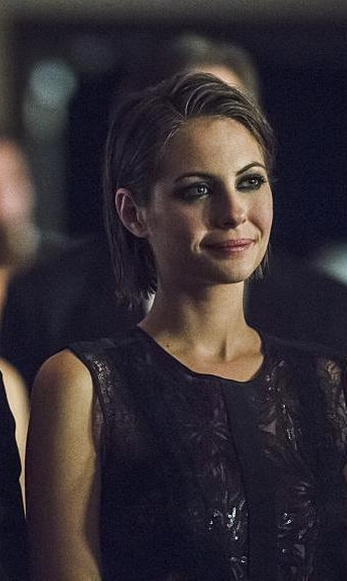 Willa Holland with BCBGMAXAZRIA Shawna Sequined Sheer-Hem Dress in Arrow