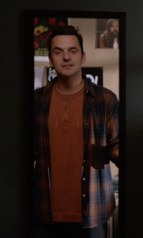 Jake Johnson with Bloomingdale's Slub Henley Shirt in New Girl