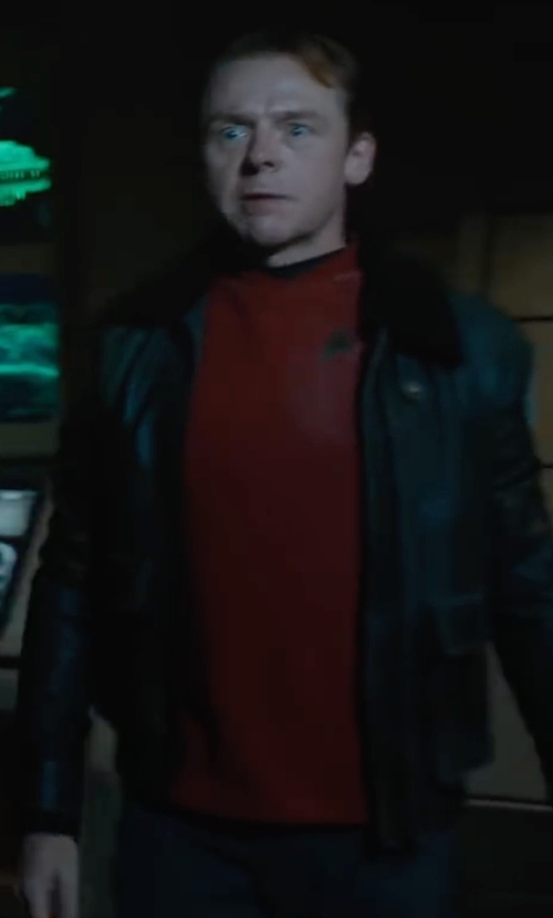 Simon Pegg with AllSaints Gate Leather Biker Jacket in Star Trek Beyond