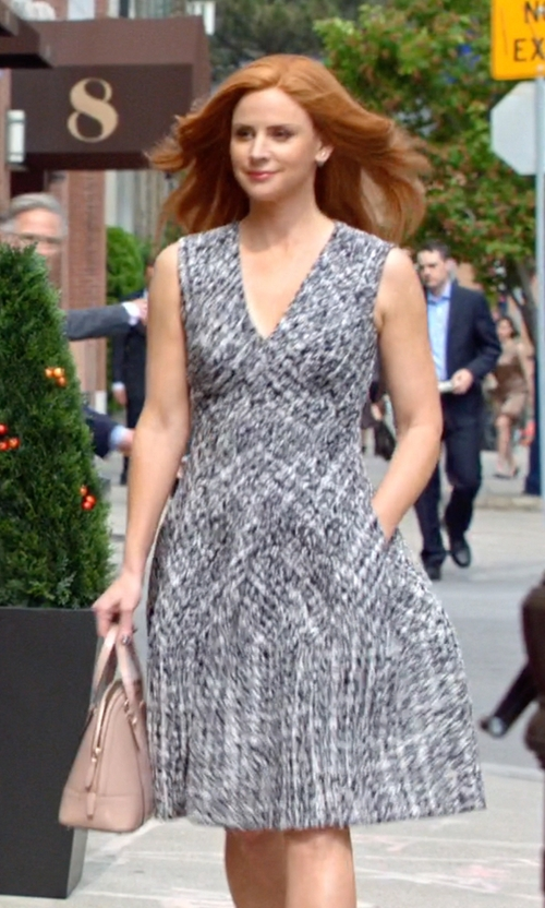 Sarah Rafferty with J. Mendel Paris Sleeveless Tweed Dress in Suits