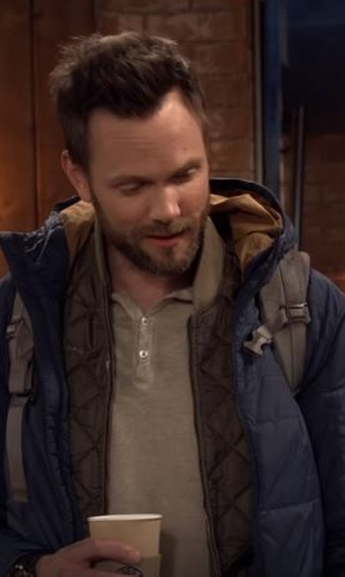 Joel McHale with Moncler Danube Hooded Down Jacket in The Great Indoors
