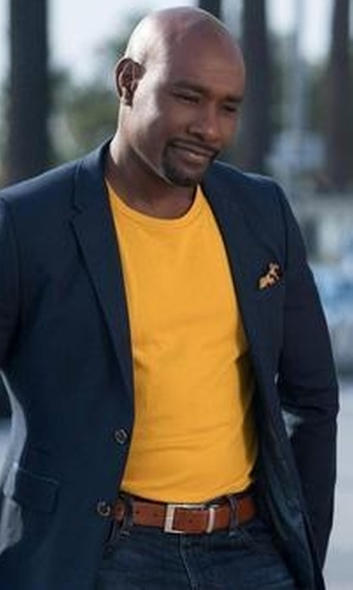 Morris Chestnut with The Men's Store at Bloomingdale's Amigo Reversible Leather Belt in Rosewood