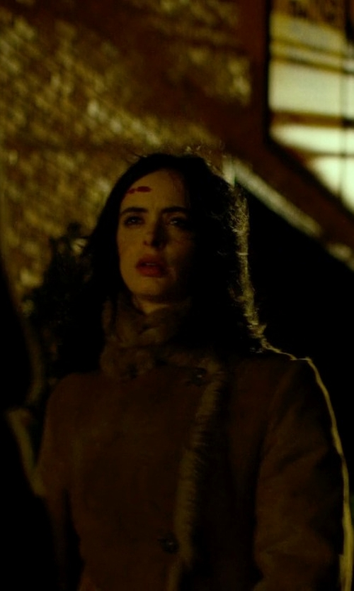 Krysten Ritter with Leon Max Tweed Coat With Faux Fur Trim in Jessica Jones