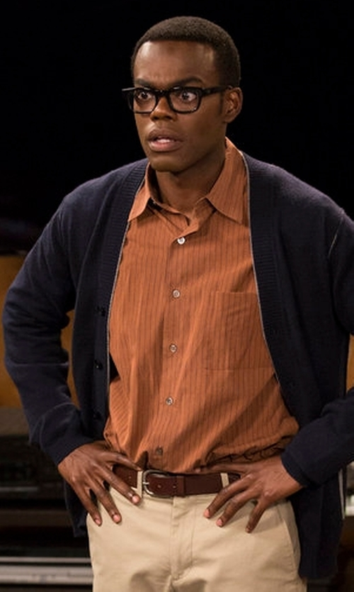 William Jackson Harper with Armani Collezioni Long Sleeve Wool Cardigan in The Good Place