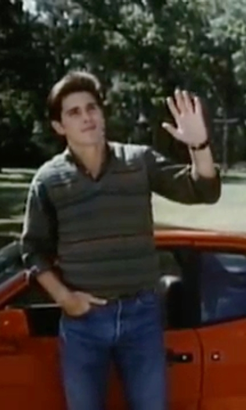 Michael Schoeffling with Kenneth Cole Leather Strap Three-Hand Watch in Sixteen Candles