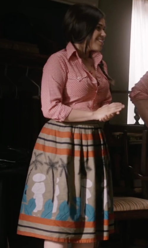 America Ferrera with Land's End Women's Full Midi Skirt in Special Correspondents