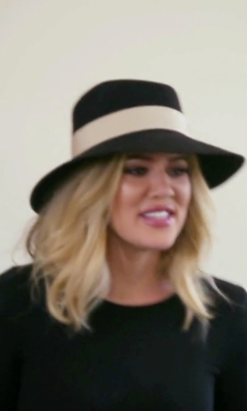 Khloe Kardashian with Maison Michel Kendall Fur Felt Hat in Keeping Up With The Kardashians