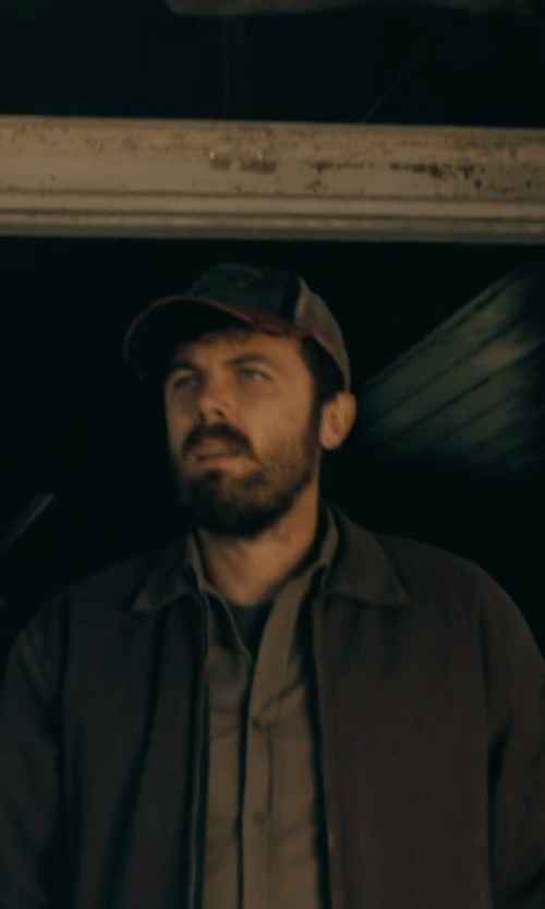 Casey Affleck with Case IH Two Tone Distressed Mesh Back Trucker Cap in Interstellar