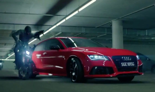 Rupert Friend with Audi RS 7 Sedan in Hitman: Agent 47