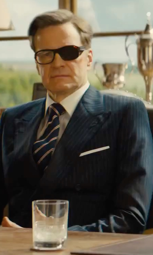 Colin Firth with Kingsman Harry's Navy Pinstriped Super 120s Wool Suit in Kingsman: The Golden Circle