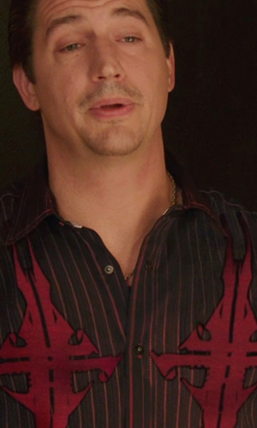 Ken Marino with Vintage Red Marching Drill Striped Shirt in We're the Millers