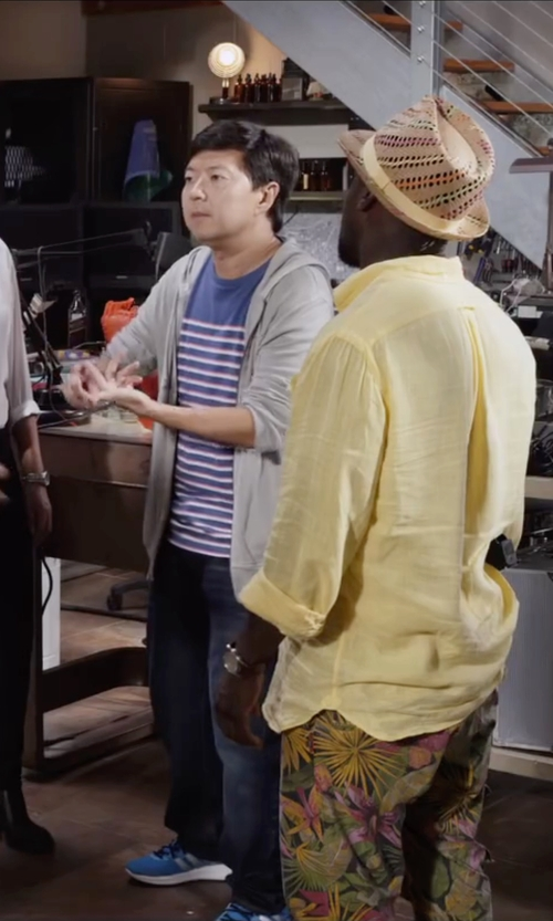 Ken Jeong with J. Crew Slim Brushed Fleece Zip Hoodie in Ride Along 2
