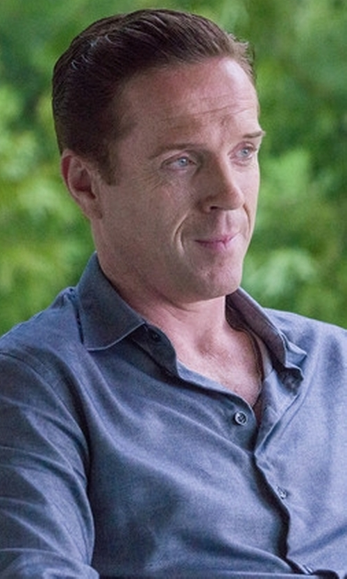 Damian Lewis with ATM Chambray Long-Sleeve Shirt in Billions